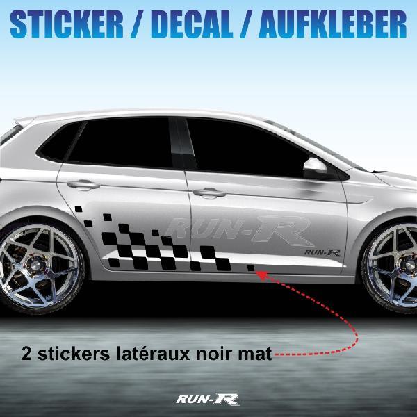 Sticker 998 TUNING FLAG Volkswagen UP et POLO noir mat