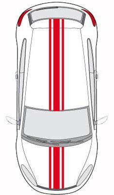 set 2 adhesifs racing triple bande rouge promo adn car deco 130112. Black Bedroom Furniture Sets. Home Design Ideas