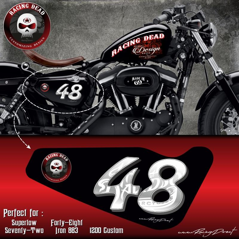 stickers harley run r stickers sportster 48 blanc. Black Bedroom Furniture Sets. Home Design Ideas