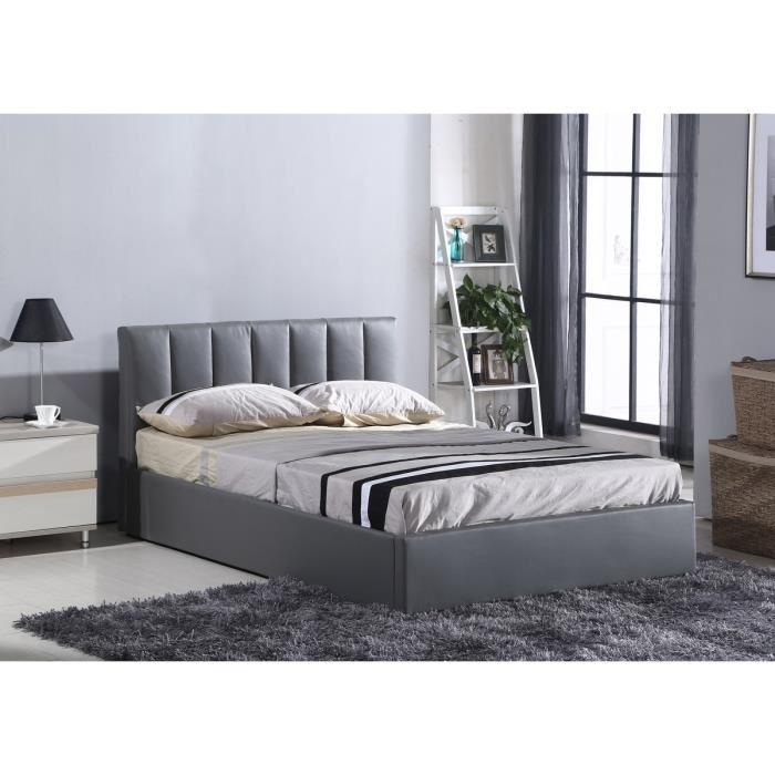 aucune anastacia lit adulte 160x200cm sommier gris 305404. Black Bedroom Furniture Sets. Home Design Ideas