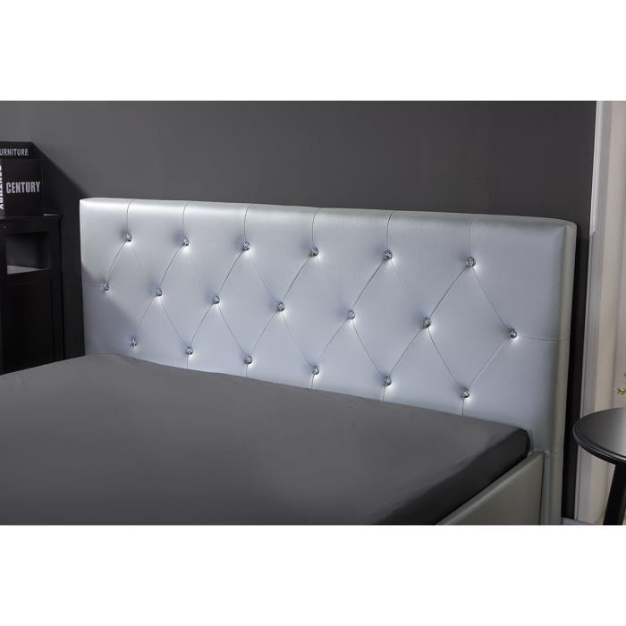 aucune bahia lit coffre strass sommier 140x190cm argent 279936. Black Bedroom Furniture Sets. Home Design Ideas