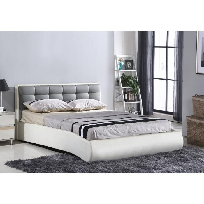 aucune niagara lit adulte 140x190cm sommier gris et blanc 304340. Black Bedroom Furniture Sets. Home Design Ideas