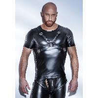 T-Shirts Sexy Noir Handmade - Tee Shirt Powerwetlook Harness H041 - L