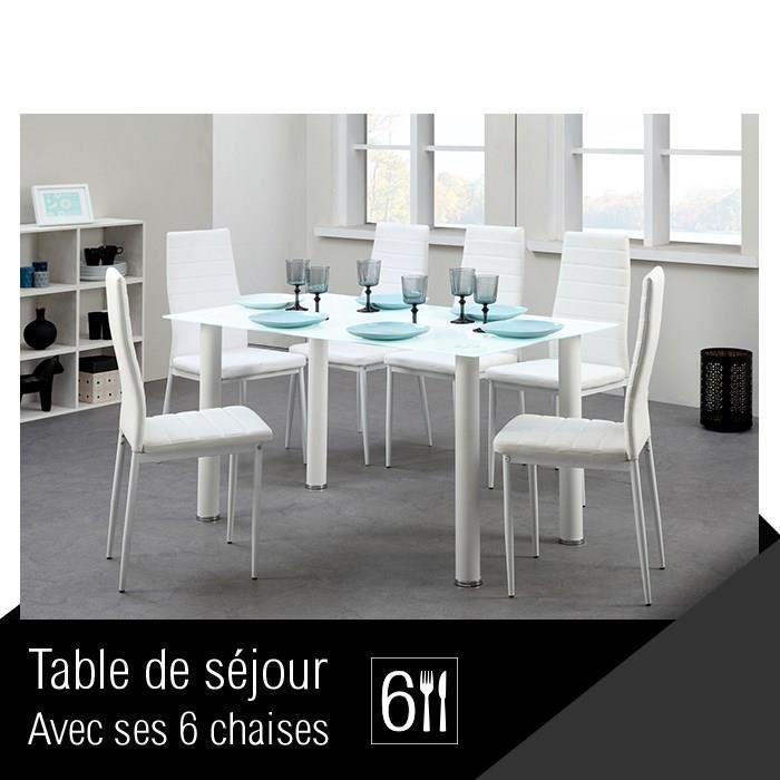 belair ensemble repas coloris blanc 7 pieces 1 table a manger 6 chaises 298387. Black Bedroom Furniture Sets. Home Design Ideas