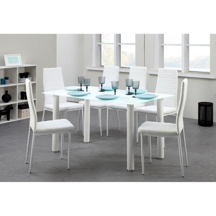 belair ensemble repas coloris blanc 7 pieces 1 table a manger 6 chaises 298387. Black Bedroom Furniture Sets. Home Design Ideas