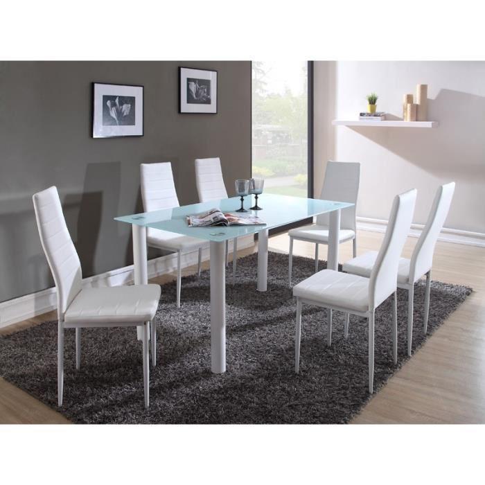Belair ensemble repas coloris blanc 7 pieces 1 table a for Table a manger avec chaise