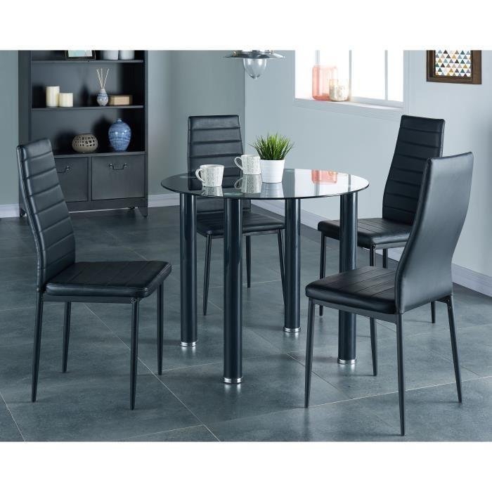 Berenice ensemble repas coloris noir 5 pieces 1 table a for Meuble salle À manger avec chaise noir salon