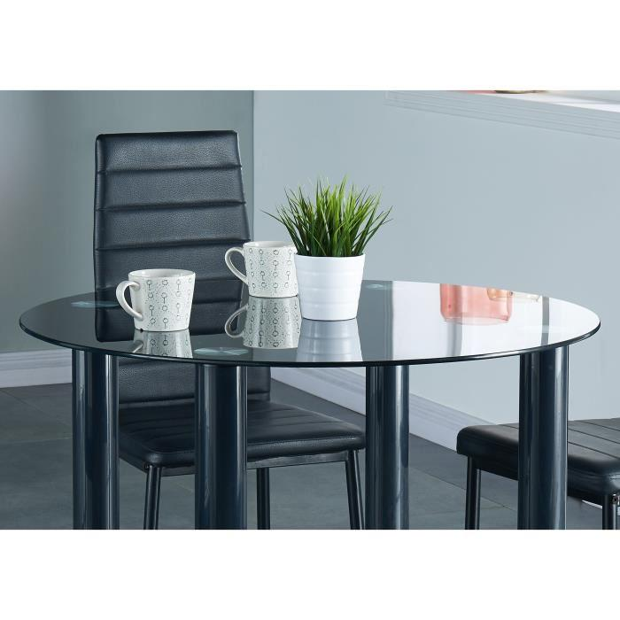 Berenice ensemble repas coloris noir 5 pieces 1 table a for Table a manger avec chaise