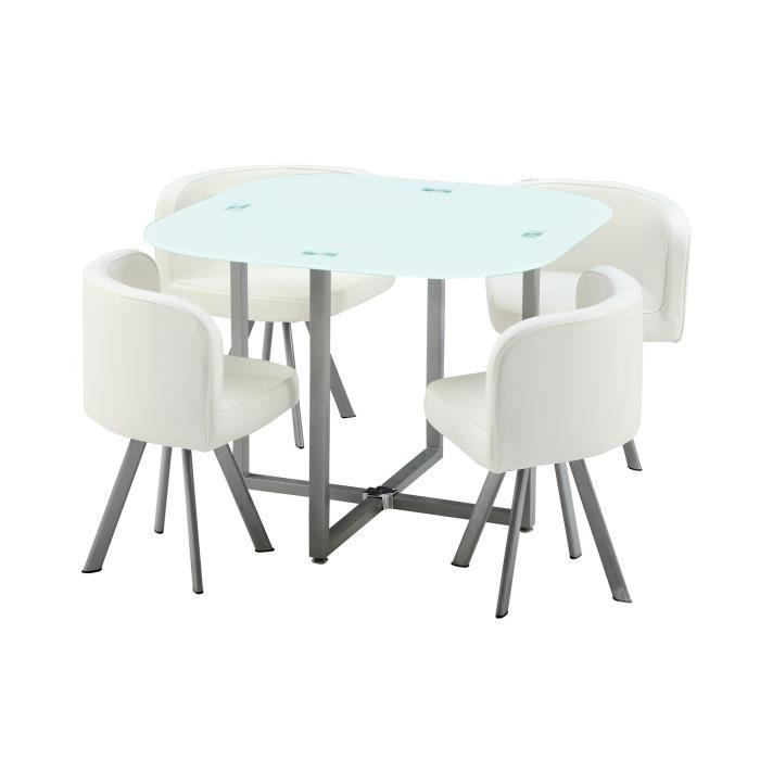 Cosmic ensemble repas coloris blanc 5 pieces 1 table a for Table a manger avec 4 chaises