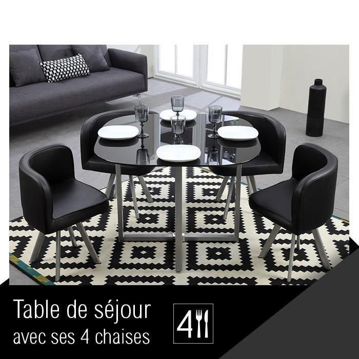Cosmic ensemble repas coloris noir 5 pieces 1 table a manger 4 chaises  267487 Table avec 4 chaises 38f023e80157