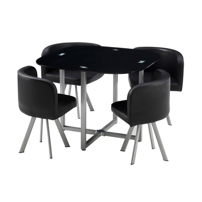 Cosmic ensemble repas coloris noir 5 pieces 1 table a - Ensemble table a manger ...