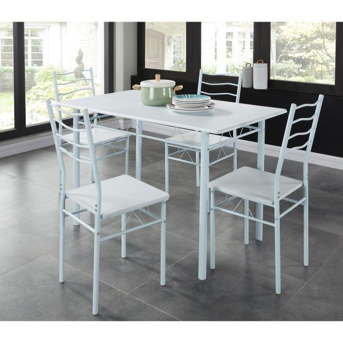 Nina ensemble repas coloris blanc 5 pieces 1 table a for Table a manger avec 4 chaises