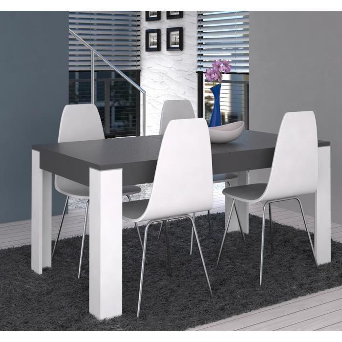aucune cross table a manger extensible 160 207x90cm blanc et gris 277525. Black Bedroom Furniture Sets. Home Design Ideas
