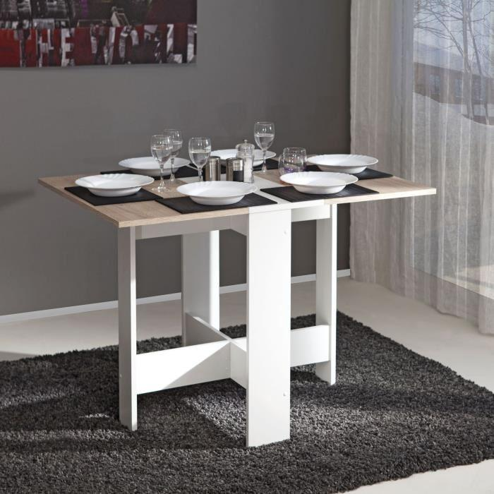 aucune curry table pliante 28 103 cm blanc chene naturel 255975. Black Bedroom Furniture Sets. Home Design Ideas