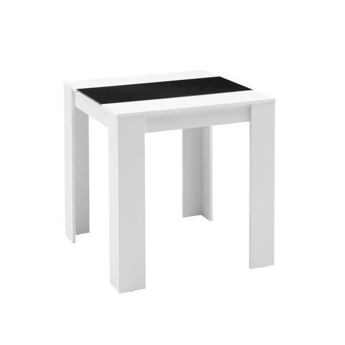 Aucune damia table a manger 75x75 cm blanc et noir 367165 for Table a manger noir et blanc