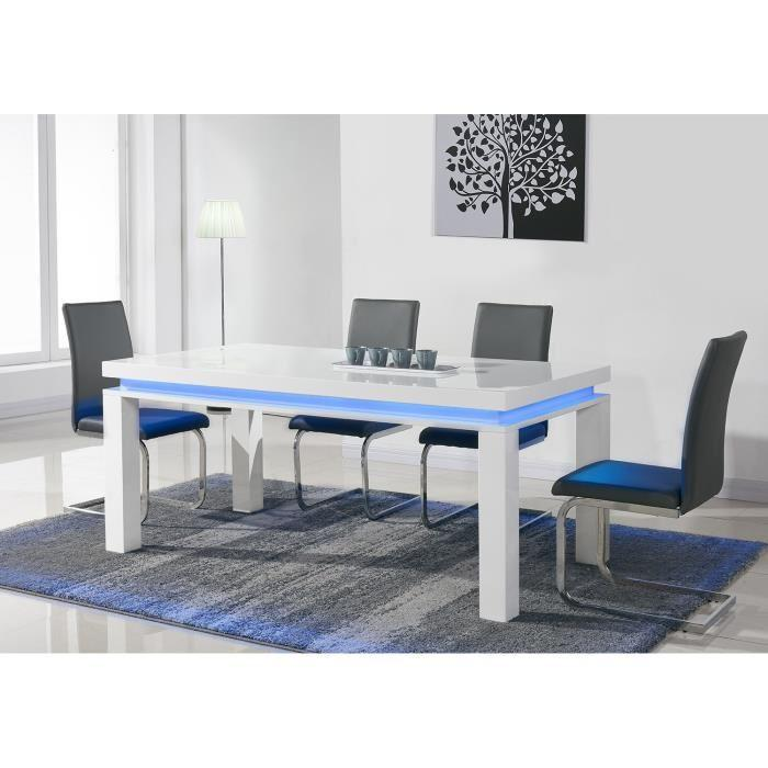 Flash table a manger avec clairage led multicolore 180x90cm blanc 307062 - Table a manger avec chaise ...