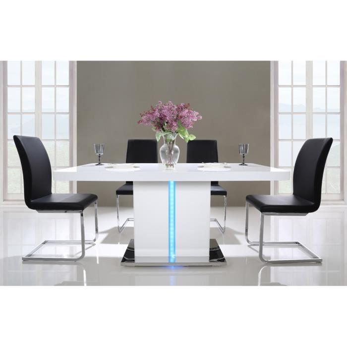 laser table a manger 160cm laqu blanc brillant avec led multicolore 317673. Black Bedroom Furniture Sets. Home Design Ideas