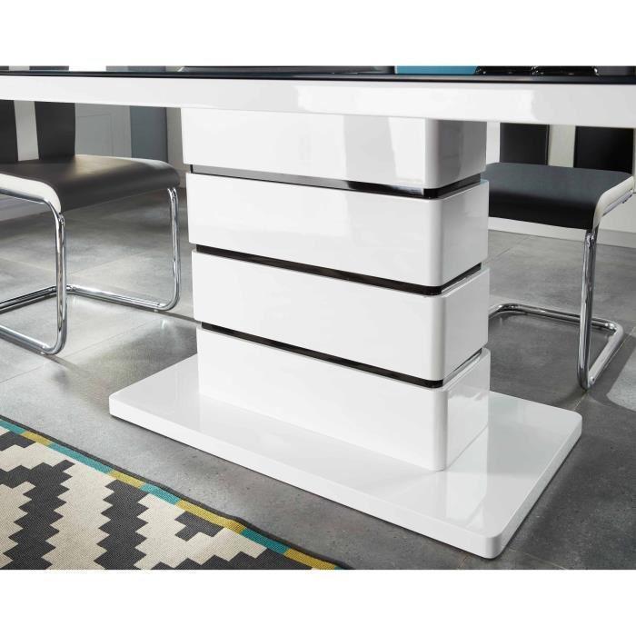 lucia table a manger 8 personnes 180x90 cm laqu blanc. Black Bedroom Furniture Sets. Home Design Ideas