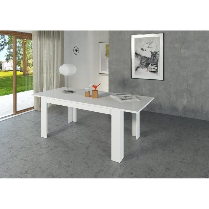 Aucune milano table extensible 160 210cm blanc laqu 267471 for Table blanc laque extensible