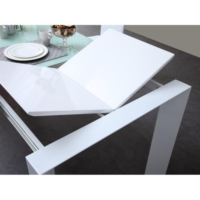Aucune milano table extensible 180 a 230cm verre blanc for Table verre blanc extensible