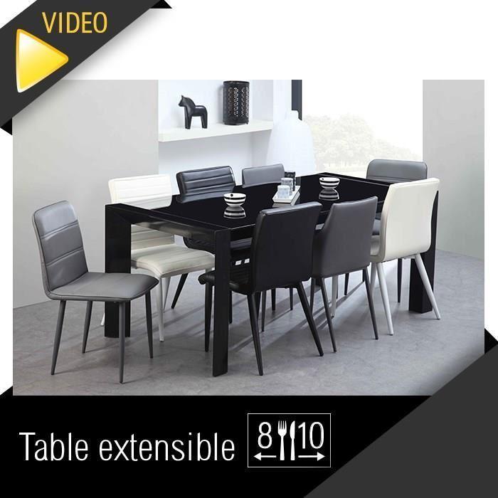 Aucune milano table extensible 180 a 230cm verre noir 293614 for Table a manger verre noir