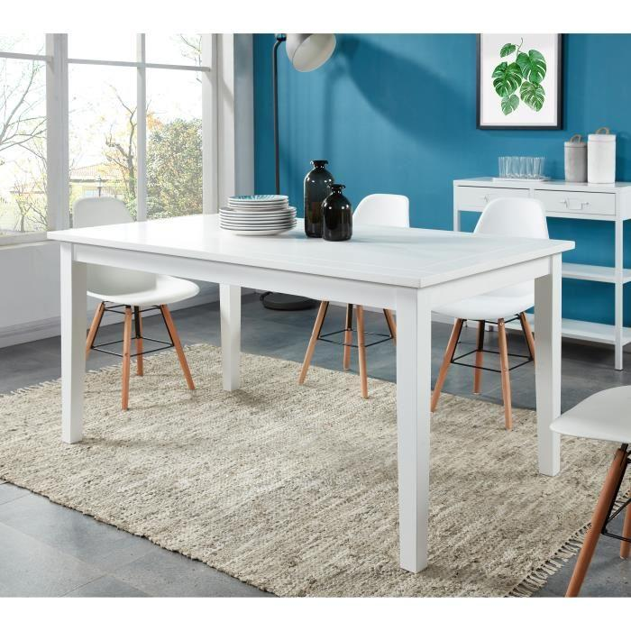 aucune montauk table a manger 6 personnes 160x90 cm blanc laqu 427651. Black Bedroom Furniture Sets. Home Design Ideas
