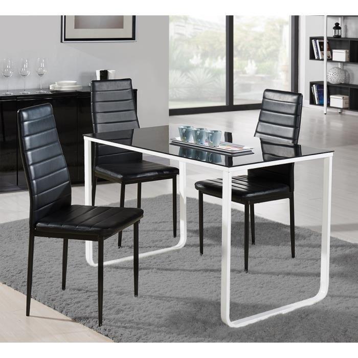 aucune profil table a manger 120x70cm m tal et verre noir et blanc 301713. Black Bedroom Furniture Sets. Home Design Ideas
