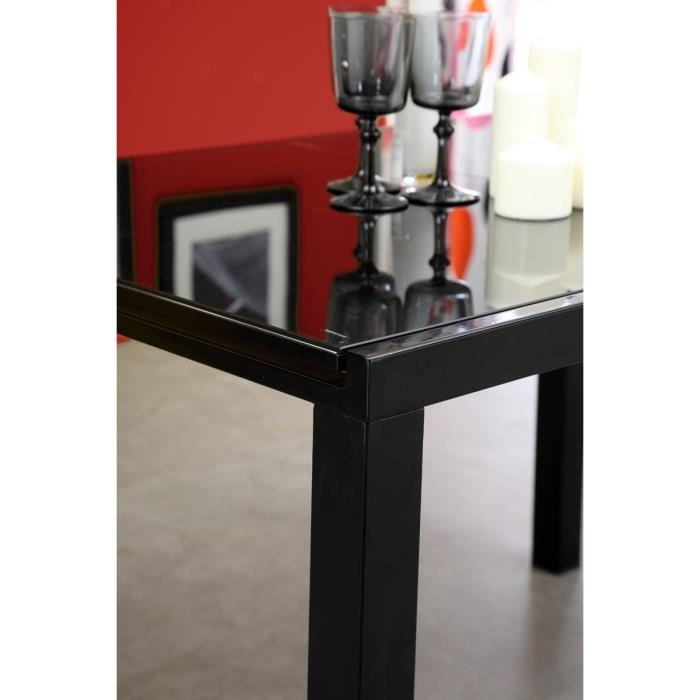Aucune roma table extensible 120 180cm verre noir 267514 for Table verre noir extensible