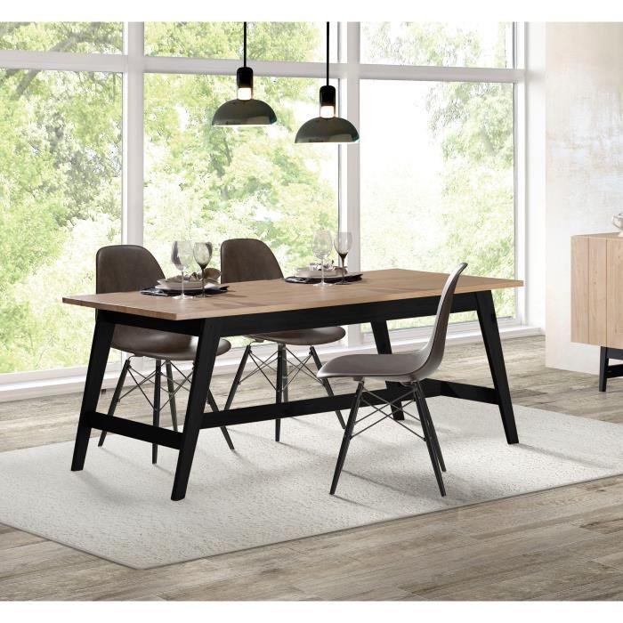 studio table a manger 8 personnes 180x90 cm en bois massif vernis et noir 394619. Black Bedroom Furniture Sets. Home Design Ideas