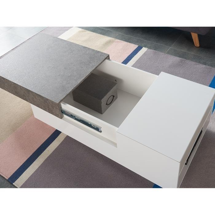 Bacalan table basse 110x60 cm laqu blanc brillant et - Table basse effet beton ...