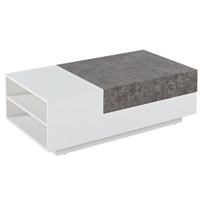 Bacalan table basse 110x60 cm laqu blanc brillant et d cor effet b ton 353764 - Table basse blanc brillant ...