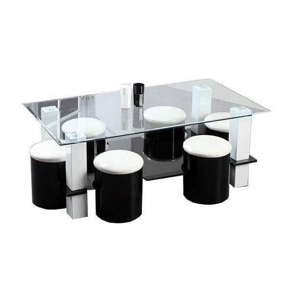 Aucune bodega table basse 6 poufs 130 cm noir 267562 for Table verre 6 poufs