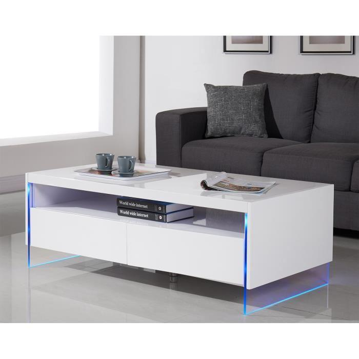 city table basse 120x60cm laque blanc brillant led multicolores 307064. Black Bedroom Furniture Sets. Home Design Ideas