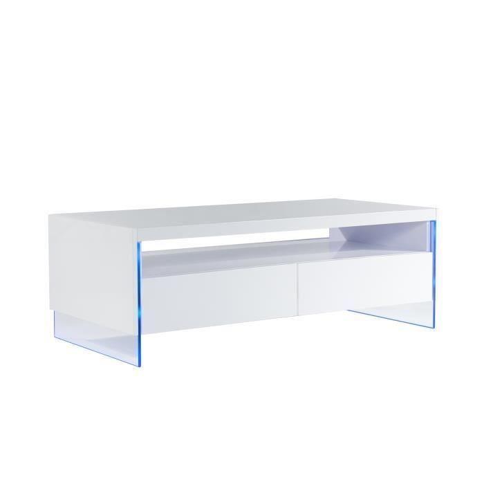 City table basse 120x60cm laque blanc brillant led - Table basse laque blanc brillant ...