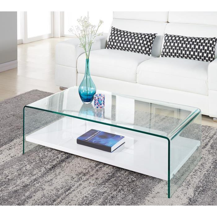 Clear table basse 110cm verre transparent et laqu blanc brillant 305079 - Table basse blanc brillant ...