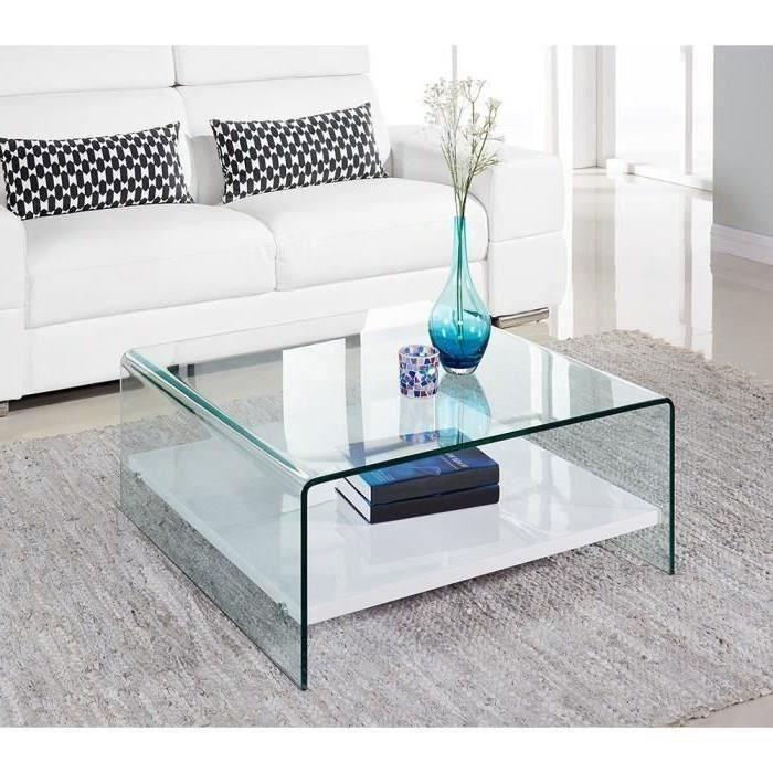 clear table basse 80cm verre transparent et laqu blanc brillant 305078. Black Bedroom Furniture Sets. Home Design Ideas