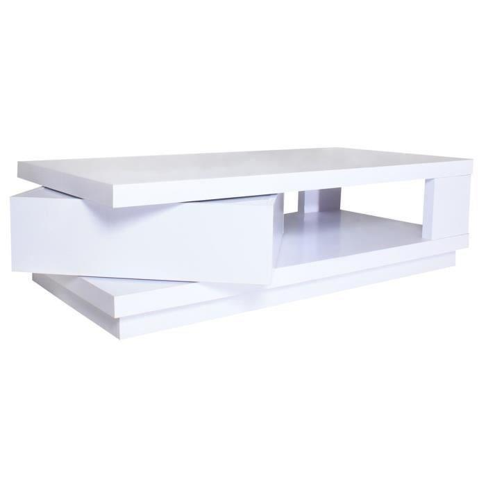 Aucune gustavo table basse 120 cm blanc brillant 316339 - Table basse blanc brillant ...