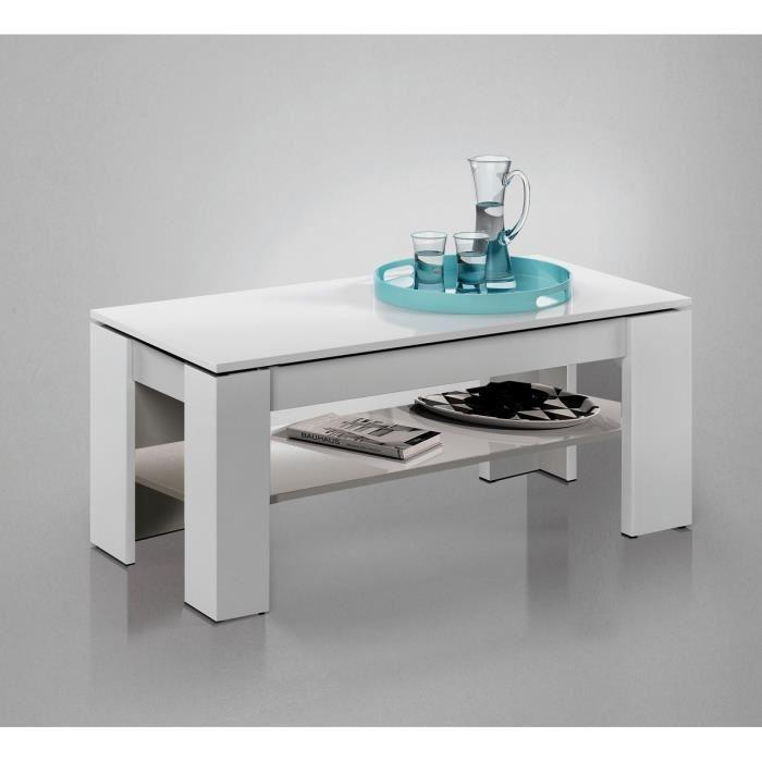 kendra table basse avec plateau relevable 100cm blanc brillant 284245. Black Bedroom Furniture Sets. Home Design Ideas