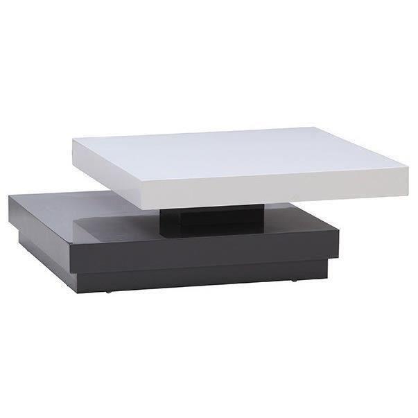 Aucune vegas table basse carr e pivotante laqu e blanc gris 256194 - Table basse carree laquee ...