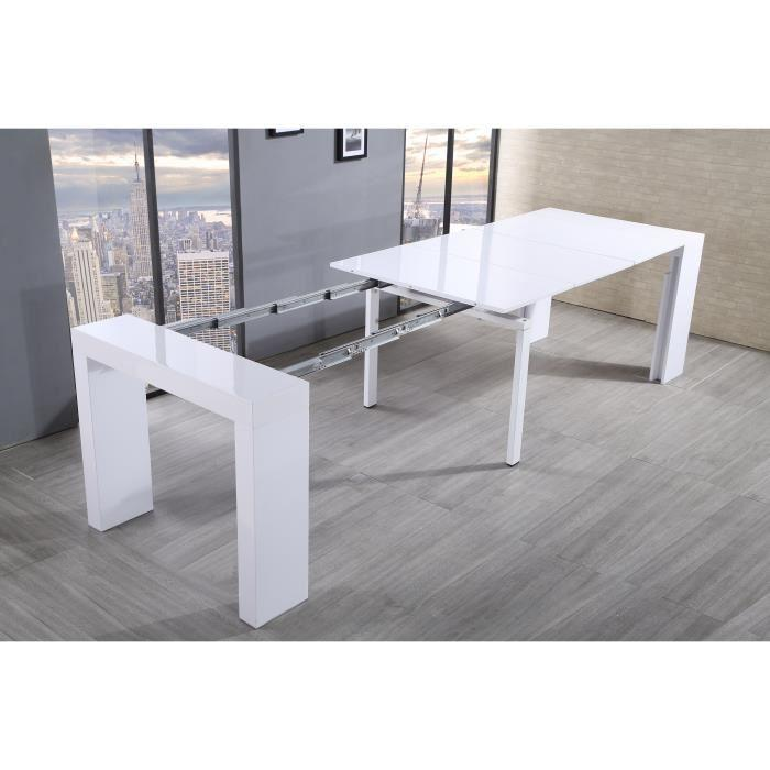 aucune zack table console extensible 45 300x90cm blanc laqu 292378. Black Bedroom Furniture Sets. Home Design Ideas
