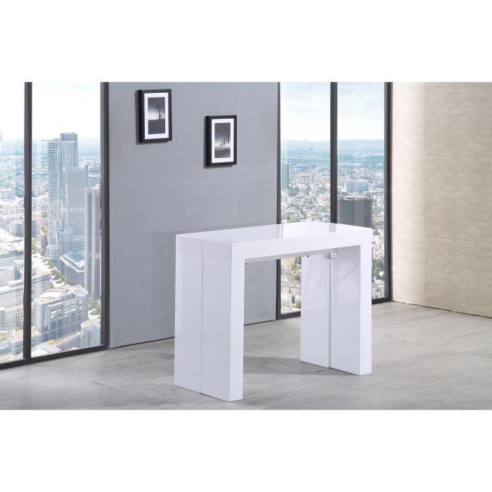 aucune zack table console extensible 45 300x90cm blanc laqu 292378. Black Bedroom Furniture Sets. Home Design Ideas