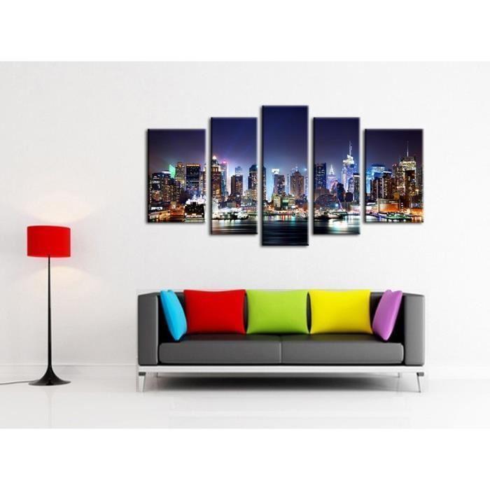 aucune city by night tableau multi panneaux urbain 110x60cm 256125. Black Bedroom Furniture Sets. Home Design Ideas