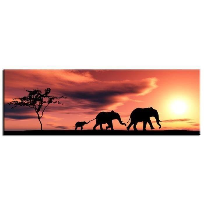 aucune elephants tableau deco 80x30cm 267538. Black Bedroom Furniture Sets. Home Design Ideas