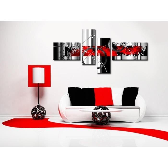 aucune feu tableau multi panneaux abstrait 140x70 cm rouge 256110. Black Bedroom Furniture Sets. Home Design Ideas