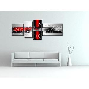 aucune force tableau multi panneaux abstrait 160x60 cm rouge 256113. Black Bedroom Furniture Sets. Home Design Ideas
