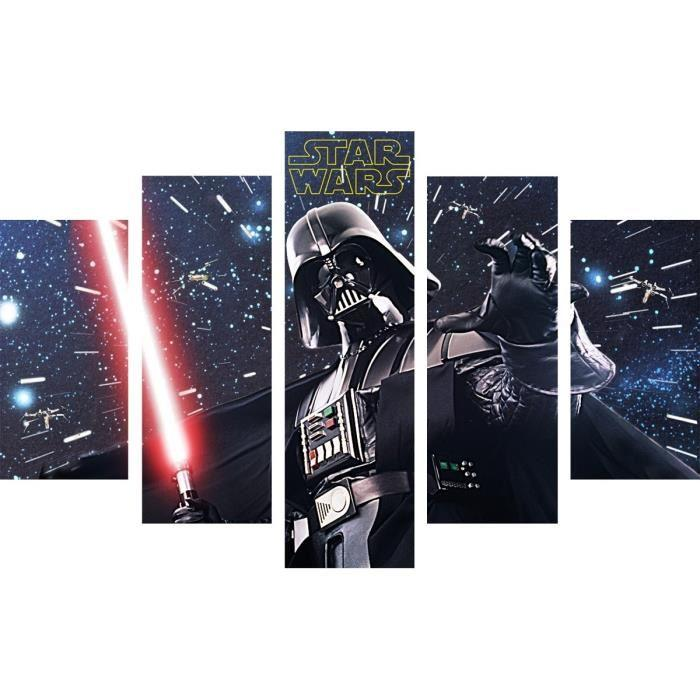 star wars set de 5 toiles imprim es dark vador 150x100 cm. Black Bedroom Furniture Sets. Home Design Ideas