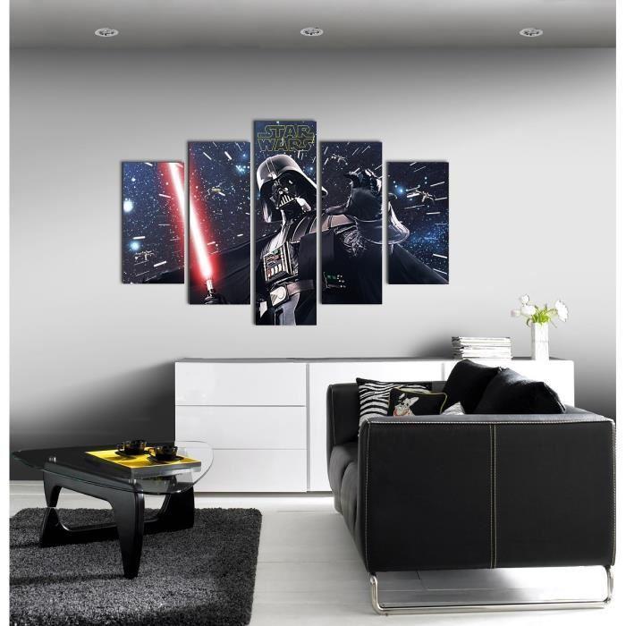 star wars set de 5 toiles imprim es dark vador 150x100 cm bleu 347914. Black Bedroom Furniture Sets. Home Design Ideas