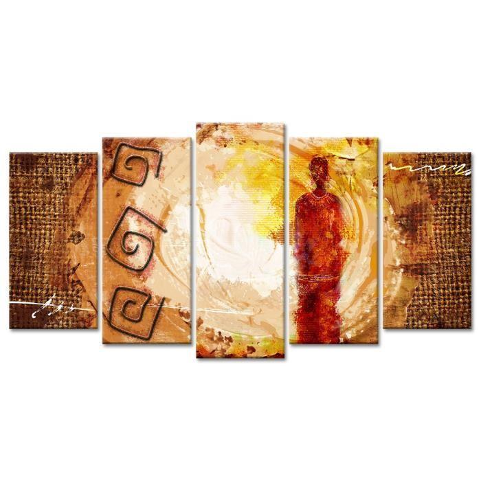 Hexoa afrika tableau multi panneaux 150x80 cm beige 428704 - Tableau multi panneaux ...
