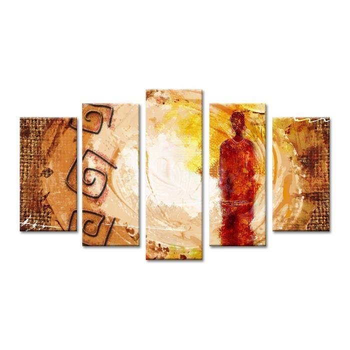 Hexoa afrika tableau multi panneaux 150x80 cm beige 428704 for Miroir 150x80