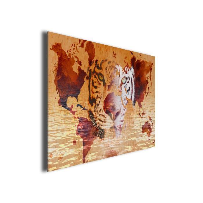 Hexoa tiger tableau multi panneaux 80x50 cm beige - Tableau multi panneaux ...
